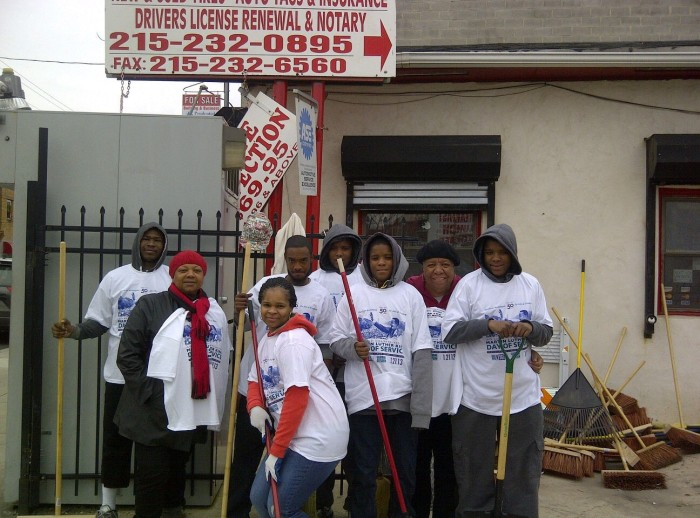 North Central's business corridor cleanup was coordinated by Jimmie Sanders at McCoy's Auto Shop on Ridge Ave.