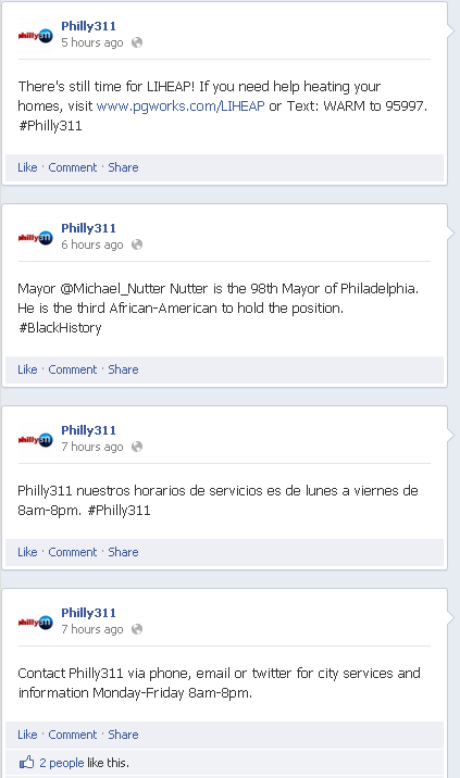 Philly311 Facebook