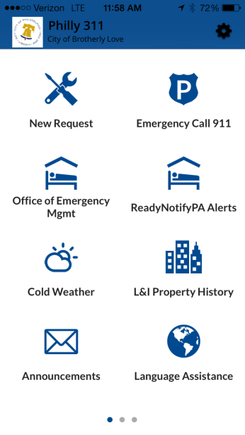 The current home screen on the Philly311 Mobile App