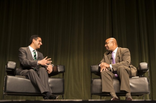 A discussion with Mayor Nutter and former White House CIO Vivek Kundra at the Philly Innovates Summit. Photo by Mitchell Leff.